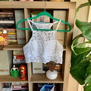Aerie High Neck White Lace Bralette